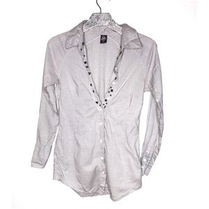 Free people cotton button down long sleeve size 6